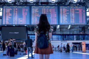 Aéroport, Transport, Femme, Jeune Fille, Touristiques